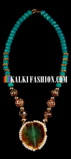 Buy Online from the link below. We ship worldwide (Free Shipping over US$100) http://www.kalkifashion.com/green-agate-necklace.html Green agate necklace