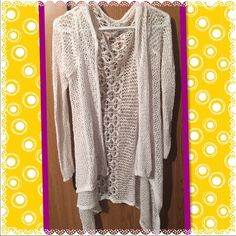 Hi low crochet cardi Hi-low cream color crochet long open cardigan Sweaters Cardigans