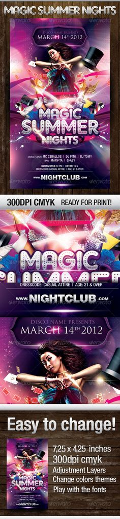 Buy Magic Nights Party Flyer by wowdg on GraphicRiver. Hope you enjoy this Magic Summer Nights template flyer! Help file included MODEL IS NOT INCLUDED Psd file all layered. Psd Flyer Templates, Print Templates, Flyer Printing, Promote Your Business, Party Flyer, Summer Nights, Color Themes, Night Club, Flyer Design