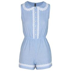 Crochet Trim Peter Pan Collar Blue Playsuit ($39) ❤ liked on Polyvore featuring jumpsuits, rompers, dresses, playsuits, shorts, playsuit romper, blue jumpsuit, blue romper, blue rompers and blue jump suit