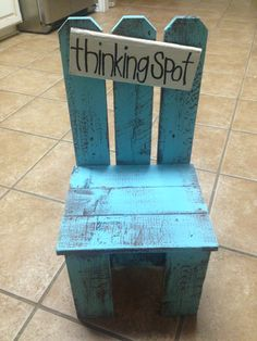 Bought this cute little chair at the market today and painted the letters on! Cute and positive alternative to a time out chair for my classroom!
