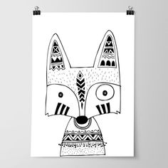 Tribal Fox Nursery Bedroom Wall Art Prints Woodland Free Shipping Australia Wide