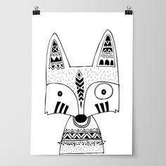 Tribal fox nursery bedroom wall art prints woodland prints free shipping australia wide