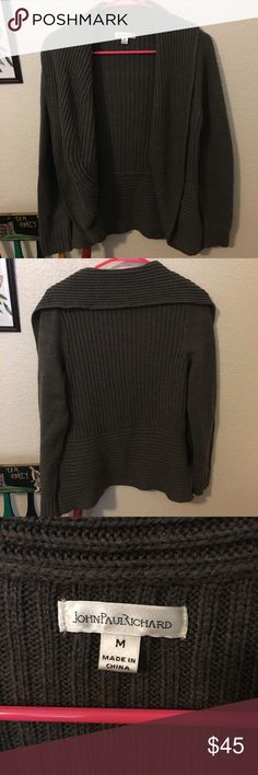 Jean Paul Richard Dark Grey Ribbed Cardigan Excellent used condition! Worn a handful of times. Very comfortable and perfect for layering. Cardigan measures 19 inches across. No trades jean paul richard Sweaters Cardigans