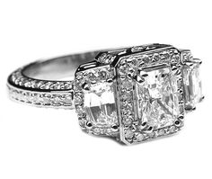 Radiant Diamond Vintage Halo Engagement Ring Cadillac side stones