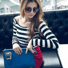Buy 'PUFII – Wide-Collar Striped T-Shirt' with Free International Shipping at YesStyle.com. Browse and shop for thousands of Asian fashion items from Taiwan and more!