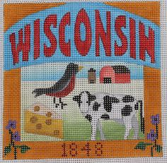 Denise DeRusha Designs Wisconsin Hand Painted Needlepoint Canvas 18 count