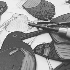 Carried away cutting the blocks... I have always found this process very mediative ... Lapwings cormorants and oystercatchers so far...