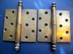 Victorian HUGE brass  lift off hinges 6''x 6'' Acorn Finials  #Victorian