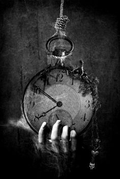 ♂ Dream Imagination Surrealism surreal art Black and white hand hanging clock Paz Inverencial