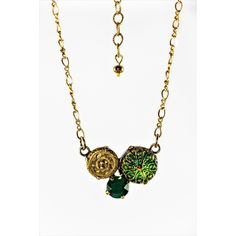 Antique Button and Crystal Cluster Necklace Green