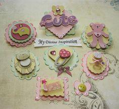 Baby Girl Paper Embellishments, Scrapbook Embellishments, Mini Album Embellishments, Card Embellishments for Baby Girls