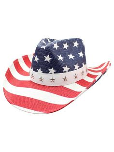 Purchase Red White And Blue Star Studded Straw Cowboy Hat from Luxury Divas on OpenSky. Share and compare all Accessories. Western Cowboy Hats, Cowgirl Hats, Leather Hats, Metal Stars, Wide-brim Hat, Red White Blue, Braid Crown, American Flag, Boat Parade