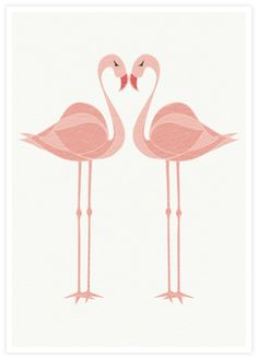 Flamingo Lovebirds Hearted Bird art Tropical bird by piiapodersalu