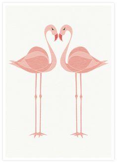 Flamingo Lovebirds Hearted Bird art Tropical bird by piiapodersalu, $22.00