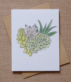 Card Succulent Bouquet Watercolor by keenbeedesigns on Etsy