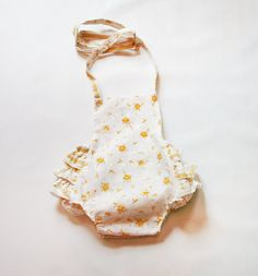 Yellow eyelet vintage style sunsuit, perfect for summer babies and little girls