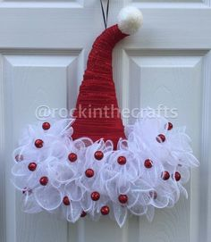 Excited to share this item from my shop: Santa Hat Door Hanger, Santa Hat Wreath, Christmas decor, Christmas Easy Christmas Decorations, Christmas Mesh Wreaths, Christmas Tree Crafts, Christmas Projects, Holiday Crafts, Christmas Holidays, Christmas Ornaments, Santa Wreath, Ribbon Wreaths
