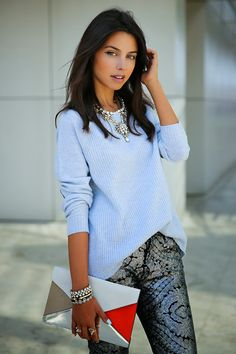 VIVALUXURY - FASHION BLOG BY ANNABELLE FLEUR: PARTY PANTS - SILVER & SPARKLE 7 For All Mankind The Skinny in Sequin Floral jeans | J Crew elbow patch sweater | Emporio Armani ankle strap pumps - old { similar option here, also love this pair } | Celine diamond clutch { also love this color } | Vita Fede jewelry: mini titan crystal bracelet, ultra eclipse crystal midi ring & ultra mini titan crystal ring | J Crew jeweled triangle necklace December 2, 2013