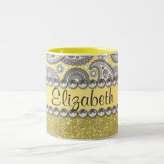 Glitter Paisley Rhinestone Print Pattern Two-Tone Coffee Mug - glitter, paisley pattern, lemon sorbert color, yellow color trend, rhinestone, diamonds, bling, monogram, personalize, girly, chic, glamour, irony designs, fashion