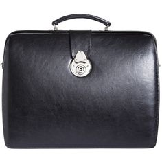 Brooks Brothers Lawyers Small Briefcase ($898) ❤ liked on Polyvore featuring bags, briefcases and black