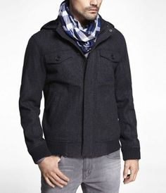 WOOL BLEND REMOVABLE HOOD BOMBER JACKET at Express $198