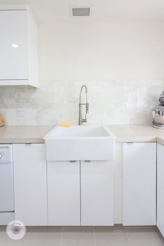 Wonderful Ikea Abstrakt White Kitchen With DIY Concrete Countertops And White Marble  Backsplash