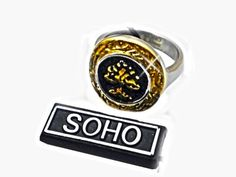 Anillo Arbol de la vida esmaltado dorado de acero quirurgico SOHO