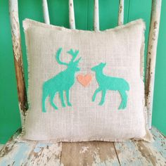 """13"""" x 13"""" Deer Love Burlap Fringe Pillow- With Doe and Buck Appliques-Woodland/Rustic/Country/Primitive-Cabin Decor-Nursery Decor"""