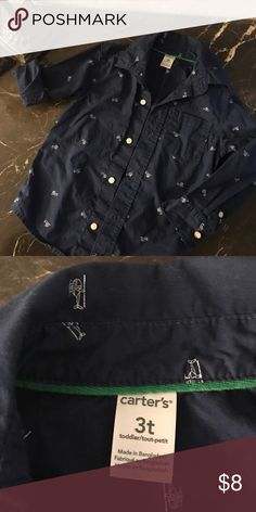 Carters long sleeve helicopter shirt Navy blue carters button sown shirt with helicopters. Used twice Carter's Shirts & Tops Button Down Shirts