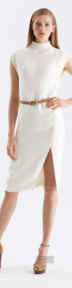 Ralph Lauren ~ High Neck White Dress, .Pre-Fall 2015.