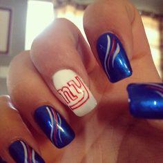 New York Giants nails Fancy Nails, Cute Nails, Pretty Nails, Blue Nail Designs, Cool Nail Designs, Football Nail Art, Nfl Football, Hair And Nails, My Nails