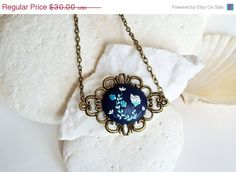 SALE Navy Blue Necklace Cobalt Blue Necklace by LandOfJewellery