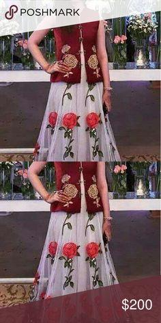Skirt Blossom inspired Velvet blouse embriodery on it  Chiffon skirt Skirts Maxi