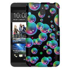 HTC Desire 610 Psychedelic Bubbles on Black Trans Case
