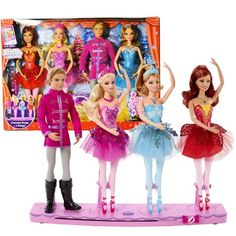 "Mattel Year 2013 ""Barbie in The Pink Shoes\"" DVD Series 4 Pack 12 Inch Doll Set with Kristyn Farraday, Prince Siegfried, Red Tutu Ballerina and Blue Tutu Ballerina Plus Musical Rotating Dancing Stage *** Check out the image by visiting the link."