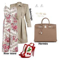 """#fashion #minifashionicon"" by minifashionicon on Polyvore featuring Balenciaga, River Island, Jennifer Meyer Jewelry, Christian Louboutin and Hermès"