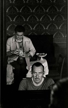 """A picture a week Magnum Photographer: Robert Capa Robert Capa & John Steinbeck, Self portrait, 1947 Picture from John Steinbeck's book, """"A Russian Journal"""" with pictures of Robert Capa. C G Jung, The Dark Side, Foto Poster, Andre Kertesz, Richard Avedon, Famous Photographers, Magnum Photos, Black And White Photography, Old Photos"""