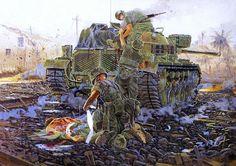 M-48 de los Marines en Hue, ofensiva del Tet. Los carros eran alcanzados con frecuencia. Se retiraban, se sustituía a los tripulantes muertos o heridos e inmediatamente volvían a entrar en acción. Cortesía de Howard Gerrard. http://www.elgrancapitan.org/foro/viewtopic.php?f=68&t=18543&p=905041#p905041
