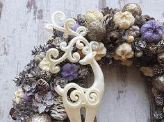 Purple christmas door wreath door hanger xmas 2017 vintage