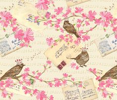 Vintage Love Letters and Cherry Blossoms fabric by diane555 on Spoonflower - custom fabric