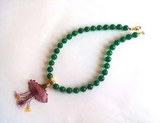 Green Necklace  Jade Jewelry  Needlework Necklace  by GULDENTAKI