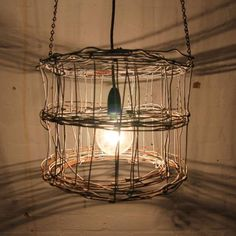 wire lamp shad | Industrial Recycled Rustic Farm Ring Lock Wire Light