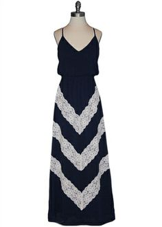 Judith March - Chevron Lace Maxi Dress