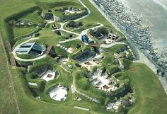 Aerial view of Skara Brae site, Orkney Islands, Scotland.