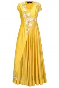 Mustard Yellow Anarkali with Floral Embroidered Jacket