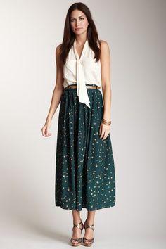 Blu Pepper Pleated Printed Maxi Skirt in Green