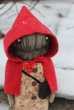 Monster Red Riding Hood art doll creature by IrinaSTextileheart