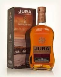JURA 16 YEAR OLD: This 16 year old from the Isle of Jura was a bronze medal winner at the 2004 International Wine and Spirits Competition.  Nose, fragrant, slightly floral cereal, some minerality at first, becoming increasingly creamy with a hint of orange. Mixed nuts, redcurrant, green apple and finally dark chocolate and spice.  Palate, oily and resinous with sweet tobacco, mixed nuts, clove, milk chocolate and violet. Rich and round.  Finish, drying, fragrant oak.