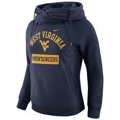 Women's Nike West Virginia Mountaineers Rally Hoodie ($35) ❤ liked on Polyvore featuring tops, hoodies, blue, blue hoodies, long sleeve hoodies, pocket hoodie, nike hoodies and blue hoodie